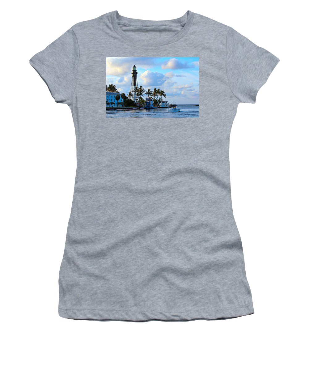 America Women's T-Shirt featuring the photograph Lighthouse Sunrise by Paul Fell