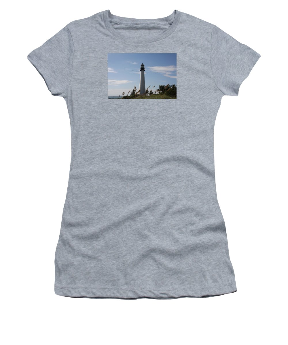 Ligthouse Women's T-Shirt featuring the photograph Ligthouse - Key Biscayne by Christiane Schulze Art And Photography