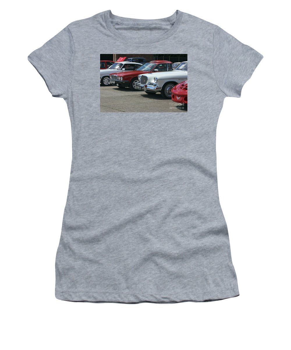 Cars Women's T-Shirt featuring the photograph A Line Up Of Vintage Cars by Terri Waters