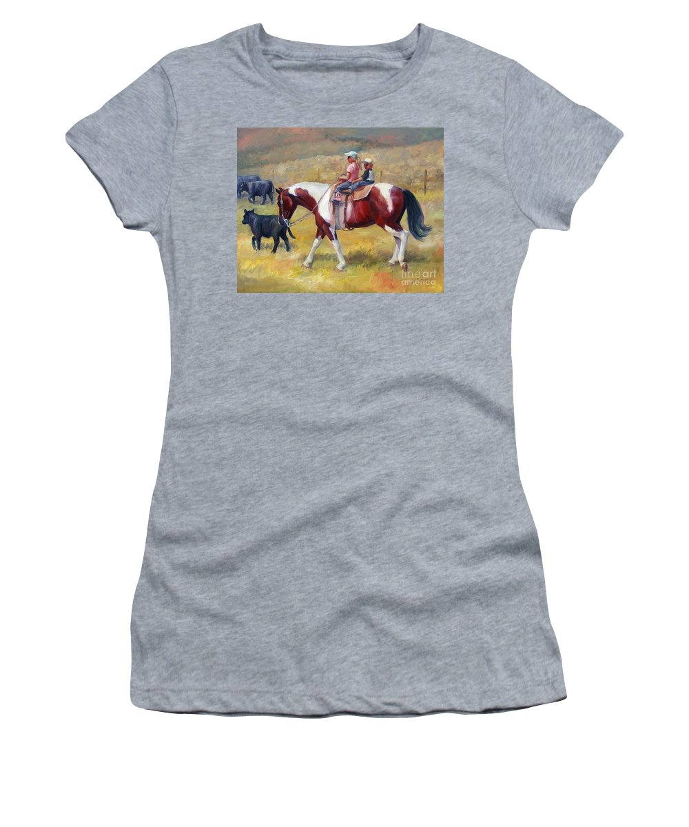 Horse Women's T-Shirt featuring the painting Little Cowboys Of Ruby Valley Western Art Cowboy Painting by Kim Corpany
