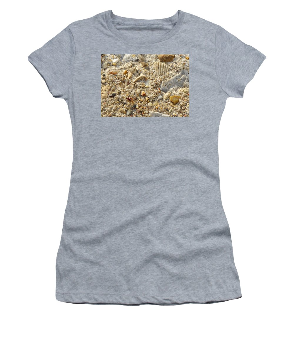 Red Bug Women's T-Shirt featuring the photograph Little Red Bug On The Sidewalk by Verana Stark