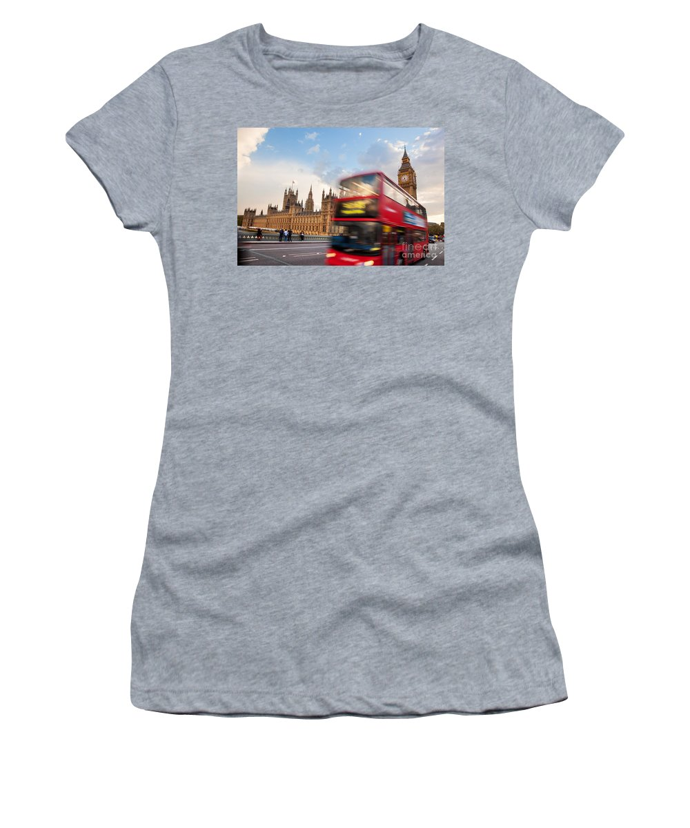 London Women's T-Shirt featuring the photograph London The Uk Red Bus In Motion And Big Ben by Michal Bednarek