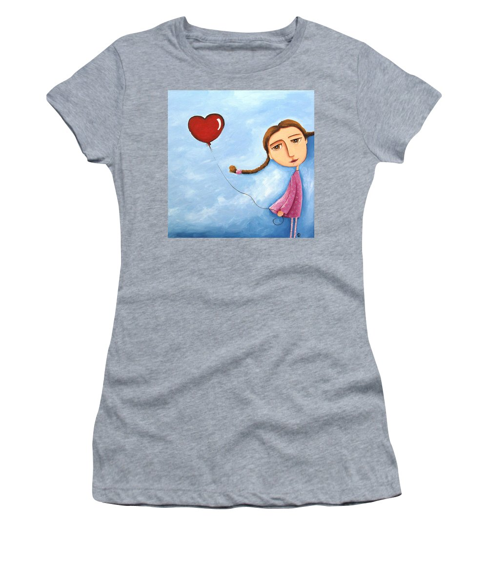 Lucia Stewart Women's T-Shirt featuring the painting Lonely Girl by Lucia Stewart