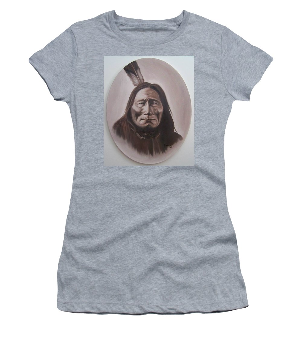 Michael Women's T-Shirt (Athletic Fit) featuring the painting Long Bear by Michael TMAD Finney