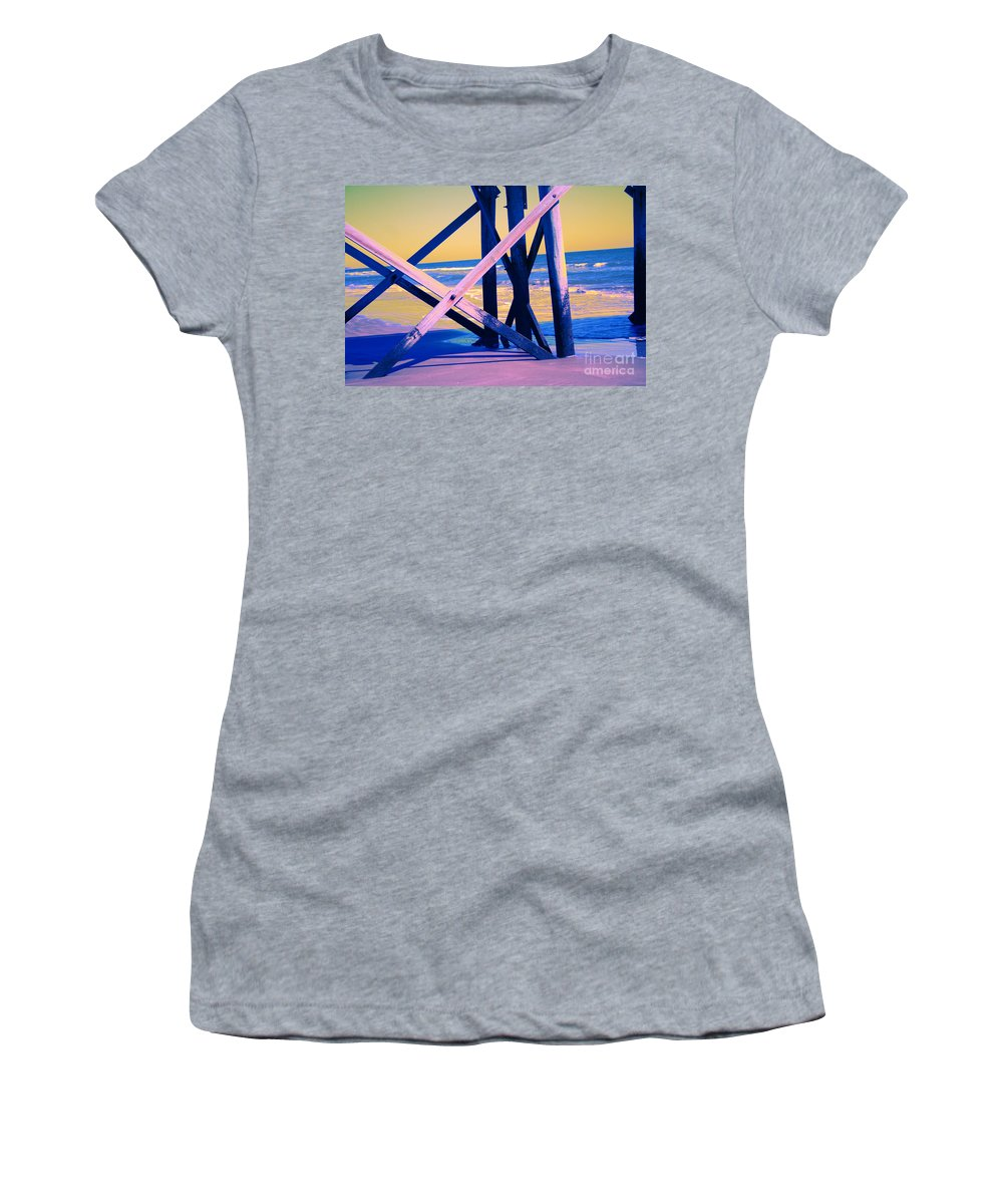 Women's T-Shirt featuring the photograph looking On - Neon by Jamie Lynn