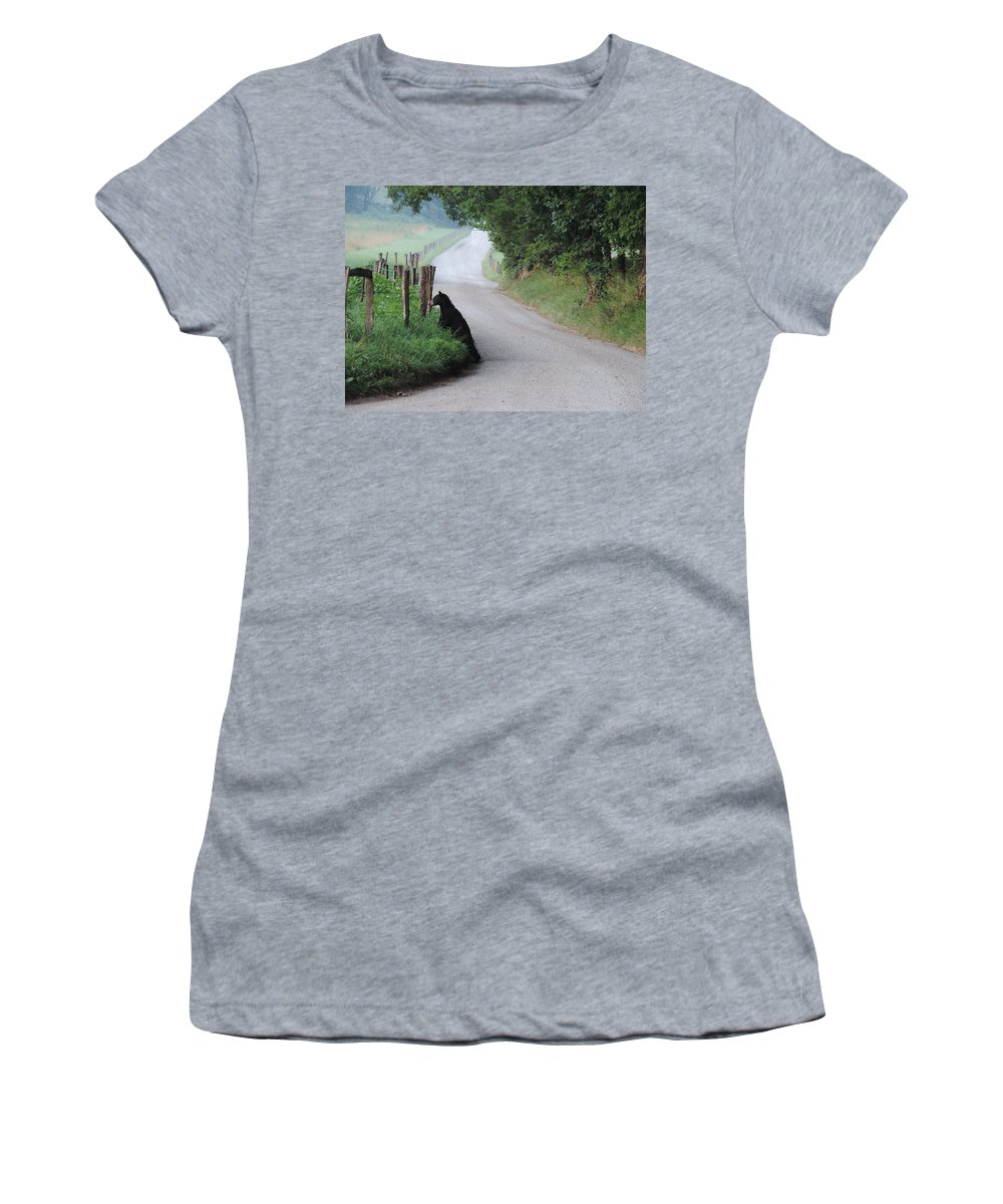 Bear Cub Women's T-Shirt (Athletic Fit) featuring the photograph Lost Bear Cub In Cades Cove by Roe Rader