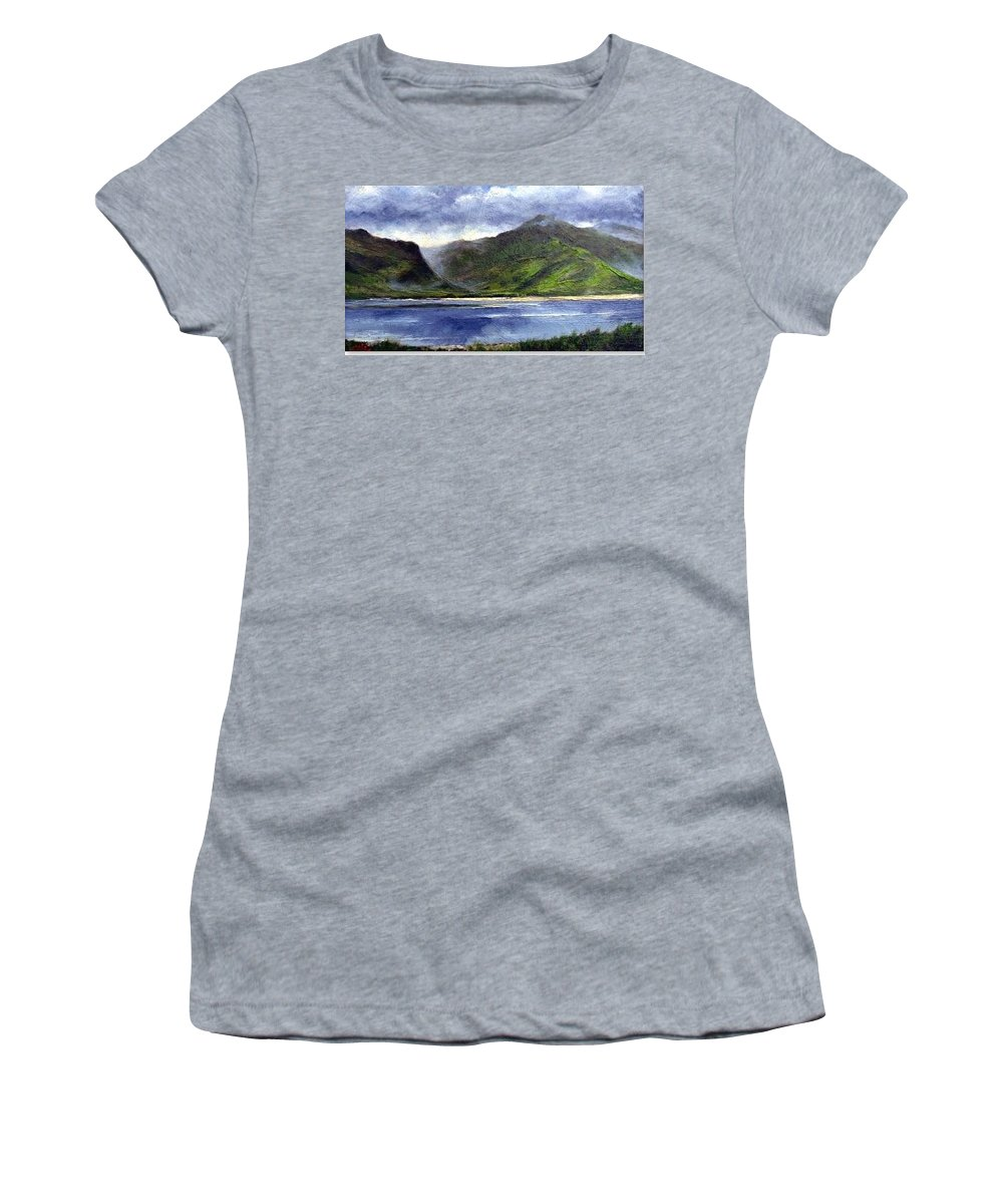 Irish Women's T-Shirt (Athletic Fit) featuring the painting Loughros Bay Ireland by Jim Gola