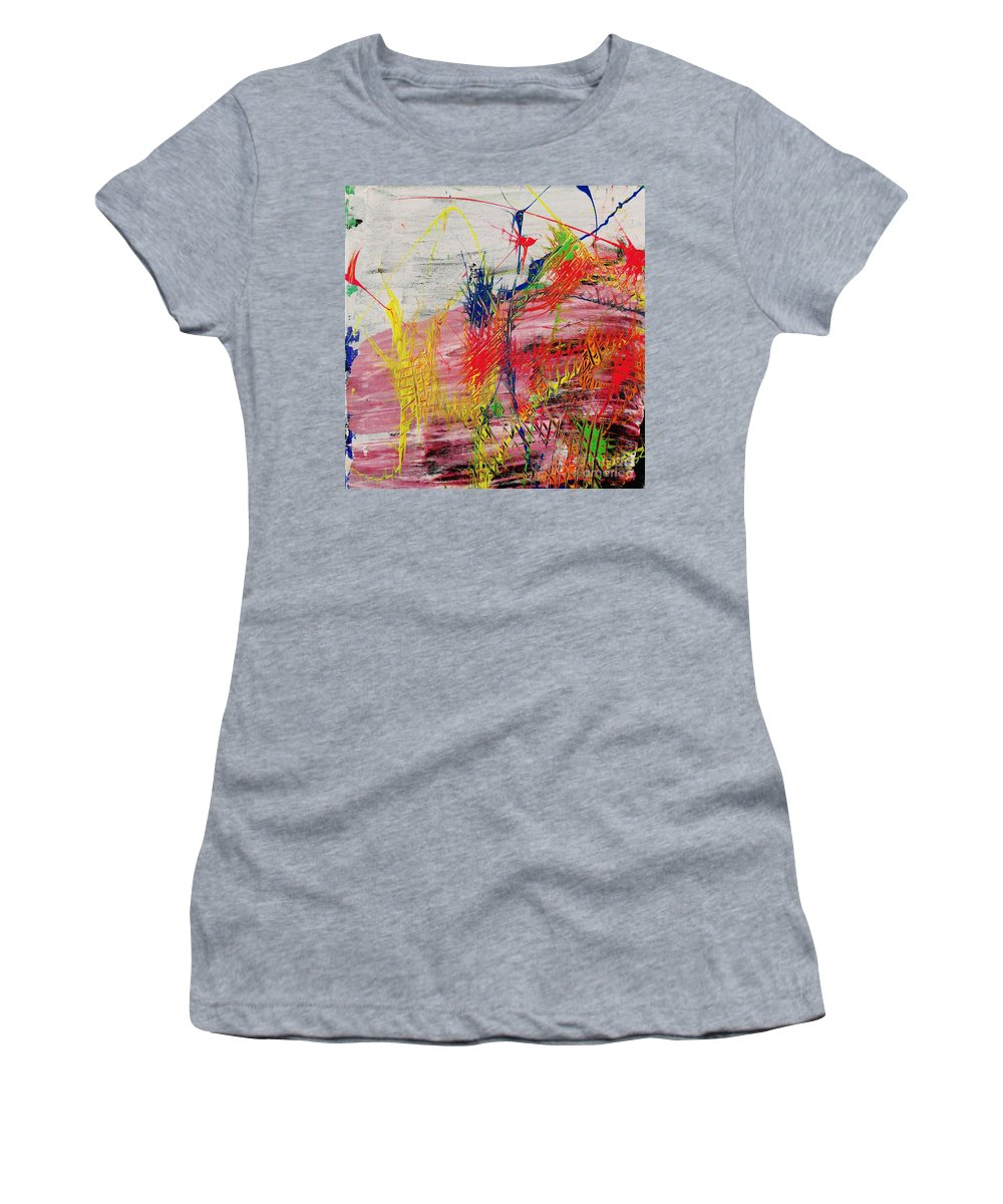 Abstract Women's T-Shirt (Athletic Fit) featuring the painting Love Of Life #1 by Wayne Cantrell