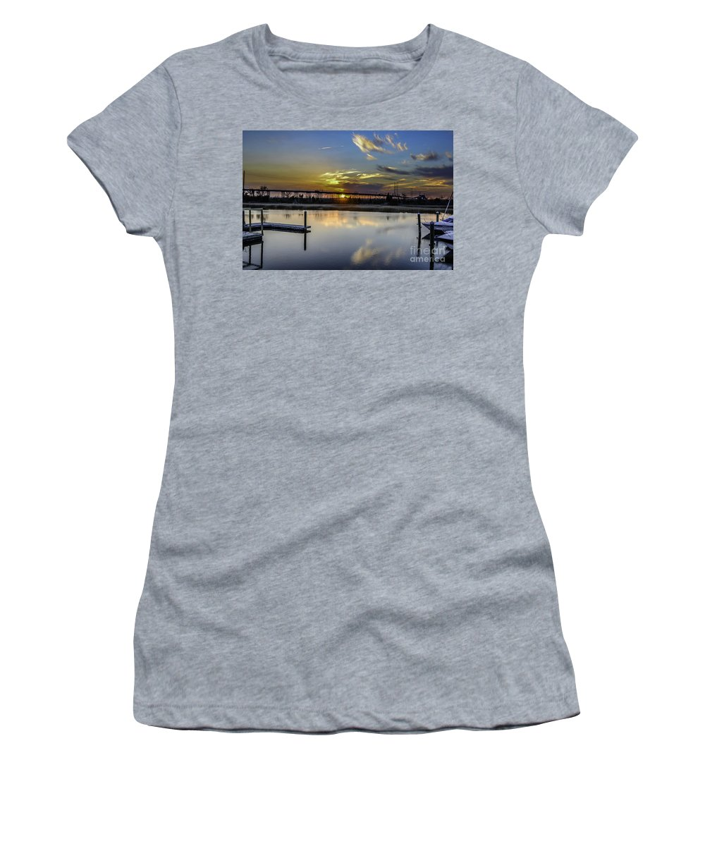 Sunset Women's T-Shirt featuring the photograph Lowcountry Marina Sunset by Dale Powell