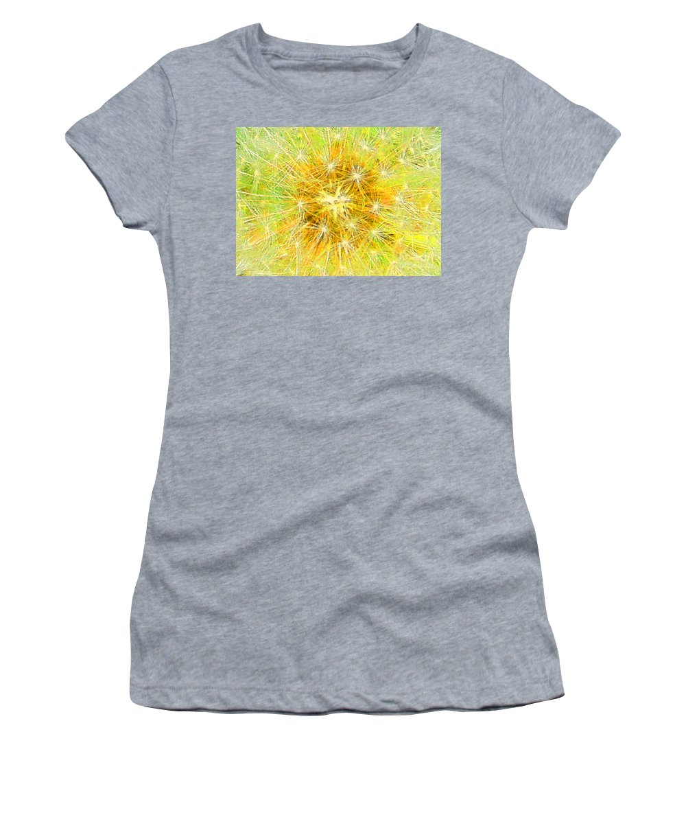 Yellow Women's T-Shirt (Athletic Fit) featuring the mixed media Make A Wish In Greenish Yellow by Jennifer E Doll