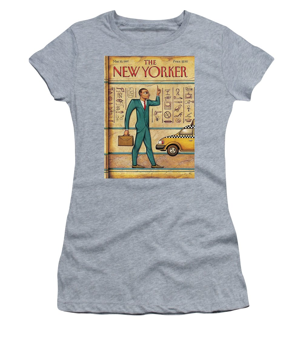 Tut's Taxi Women's T-Shirt featuring the painting Tuts Taxi by Anita Kunz