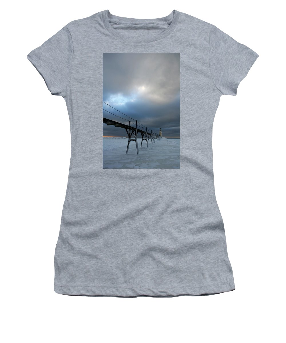 Manistee Women's T-Shirt featuring the photograph Manistee Lighthouse 7 by Allan Lovell