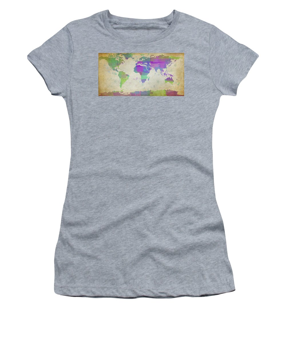 Popular Women's T-Shirt (Athletic Fit) featuring the digital art Map Of The World - Plaid Watercolor Splatter by Paulette B Wright