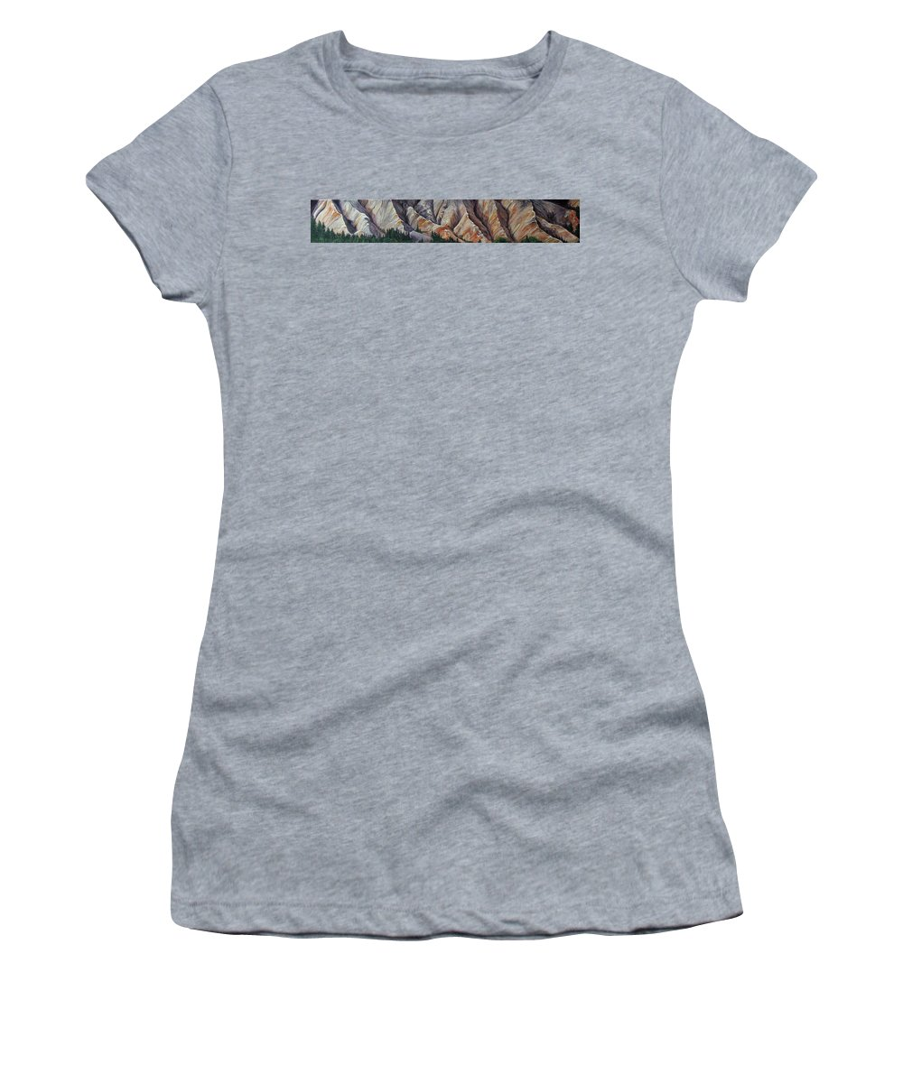 Mountains Women's T-Shirt (Athletic Fit) featuring the painting Marble Ridge by Elaine Booth-Kallweit