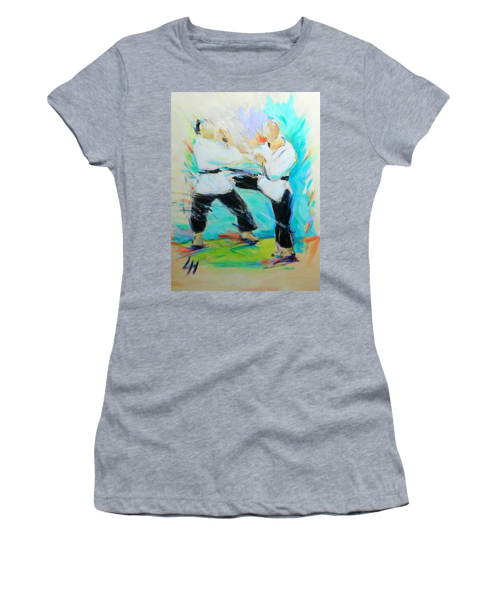 Mawashi Women's T-Shirt (Athletic Fit) featuring the painting Mawashi by Lucia Hoogervorst