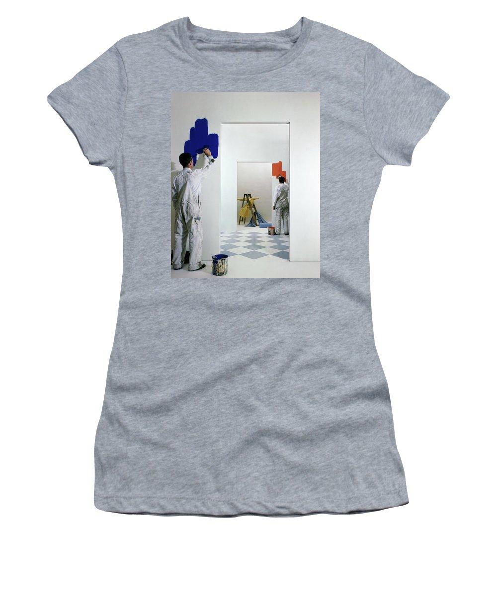 Interior Women's T-Shirt featuring the photograph Men Painting Walls by Herbert Matter