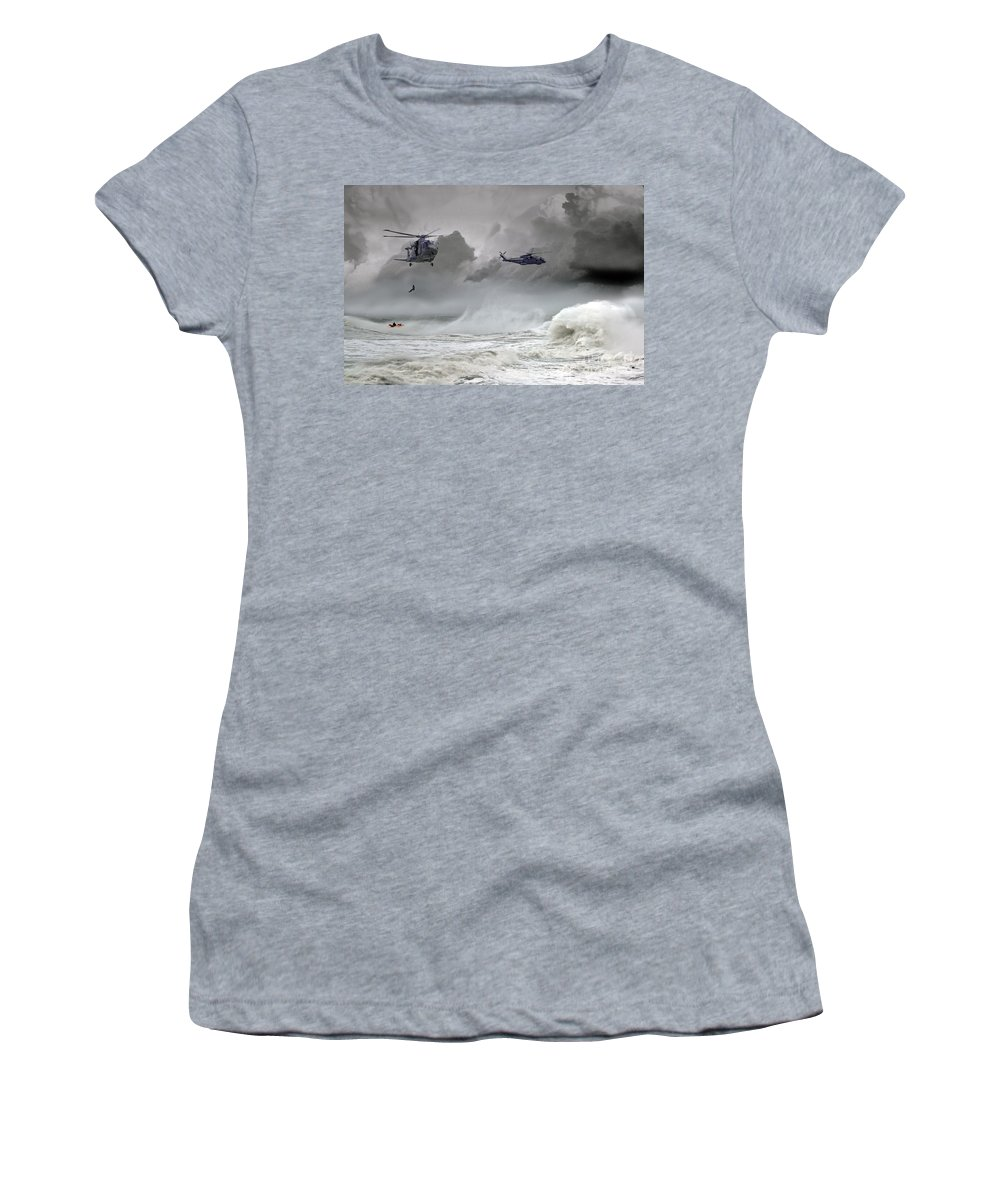 Royal Navy Merlin Women's T-Shirt featuring the digital art Merlin Rescue by J Biggadike