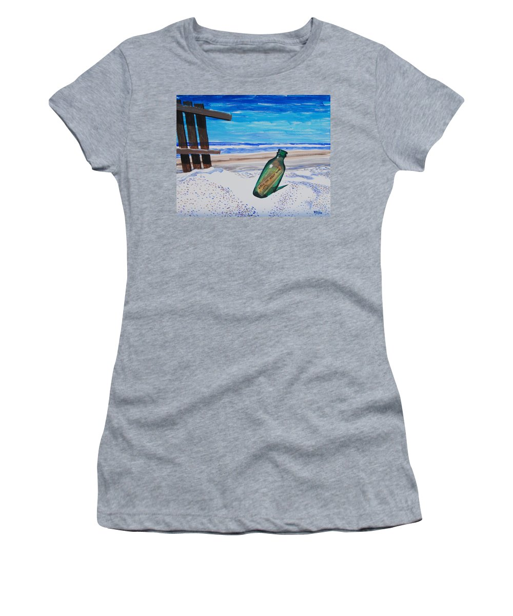Bottle Women's T-Shirt featuring the painting Message In A Bottle by Tommy Midyette