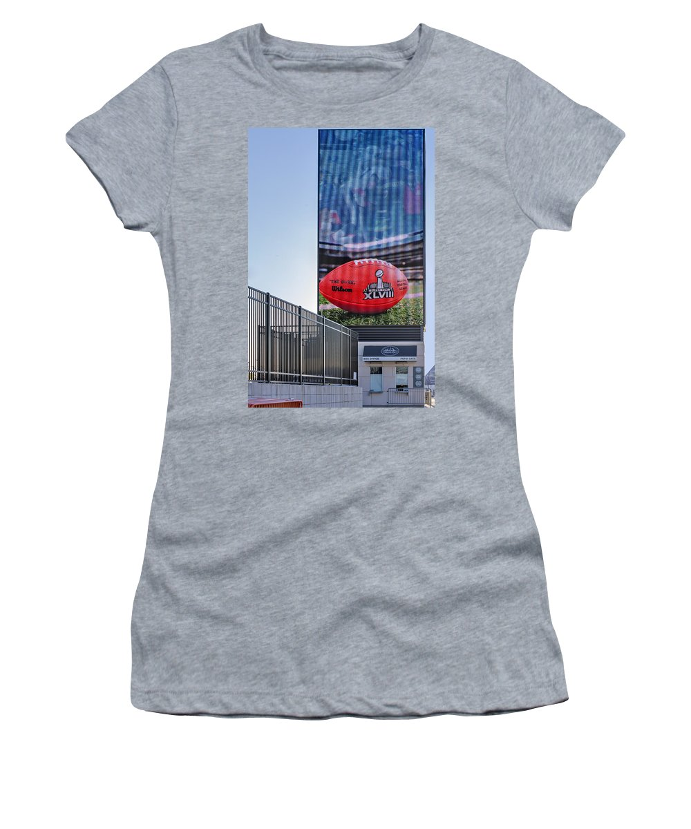 Super Bowl Women's T-Shirt (Athletic Fit) featuring the photograph Metlife Stadium Box Office by Susan Candelario