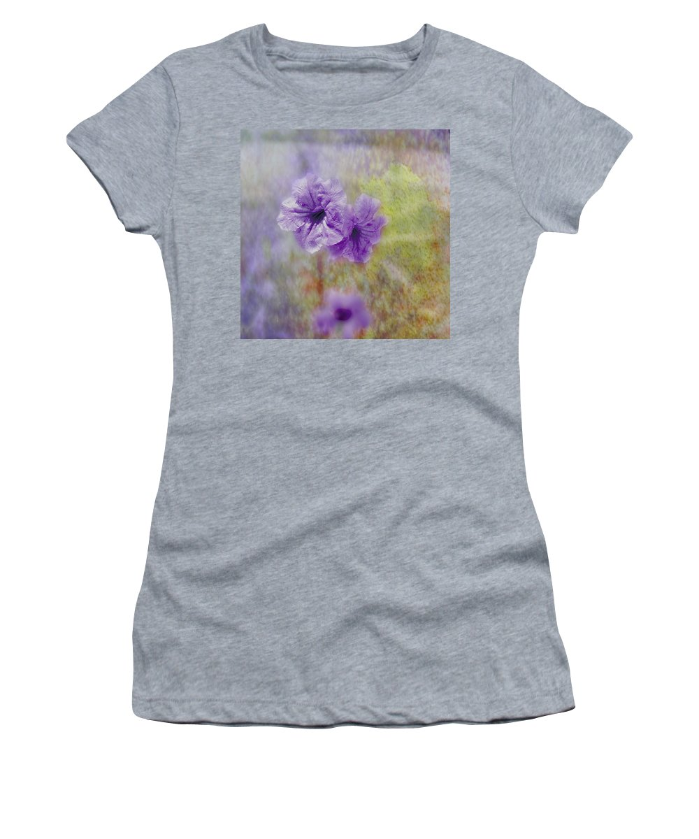 Flowers Women's T-Shirt (Athletic Fit) featuring the photograph Mexican Petunia by Judy Hall-Folde