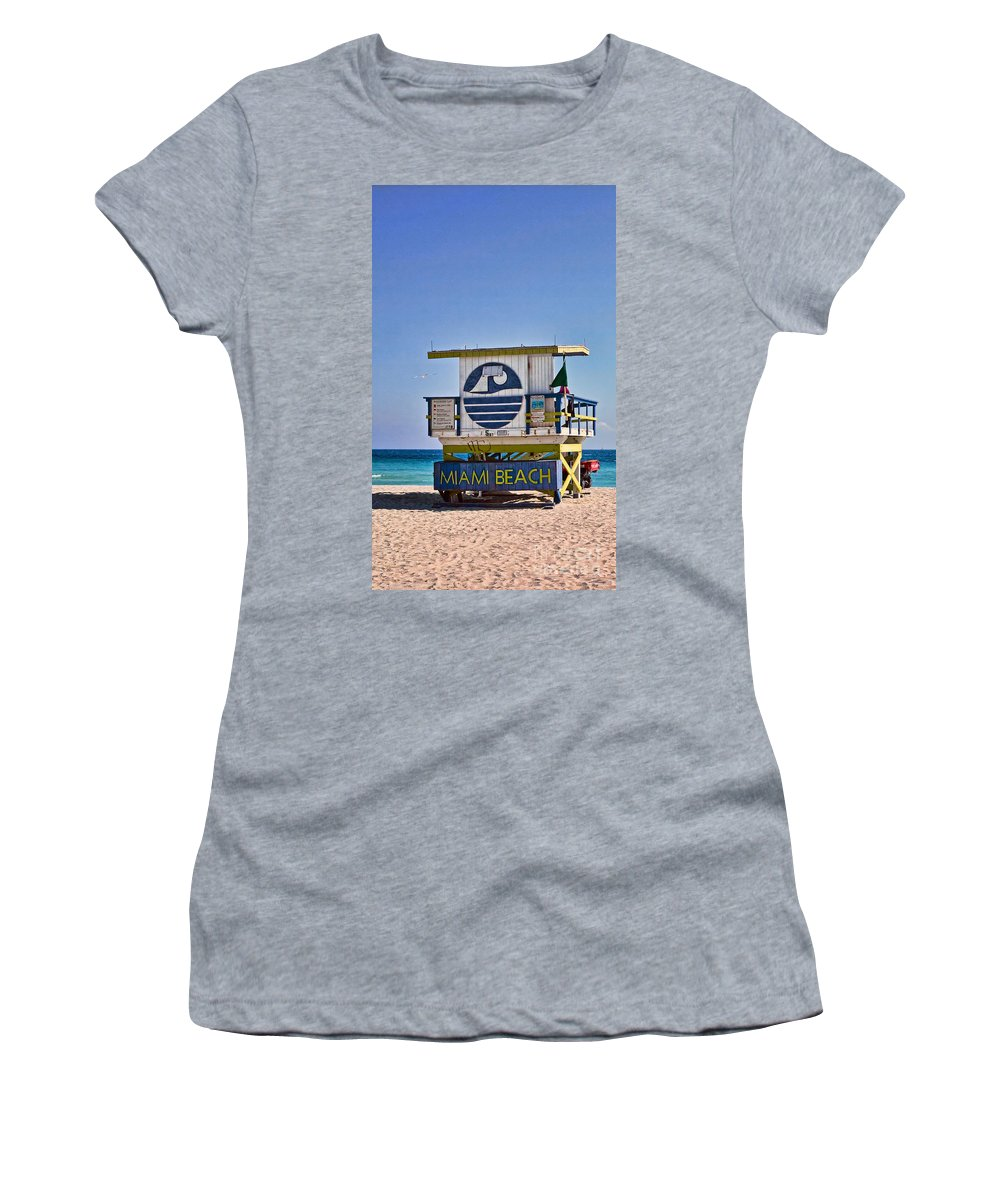 Lifeguard Women's T-Shirt (Athletic Fit) featuring the photograph Miami Beach Lifeguard Station by Les Palenik