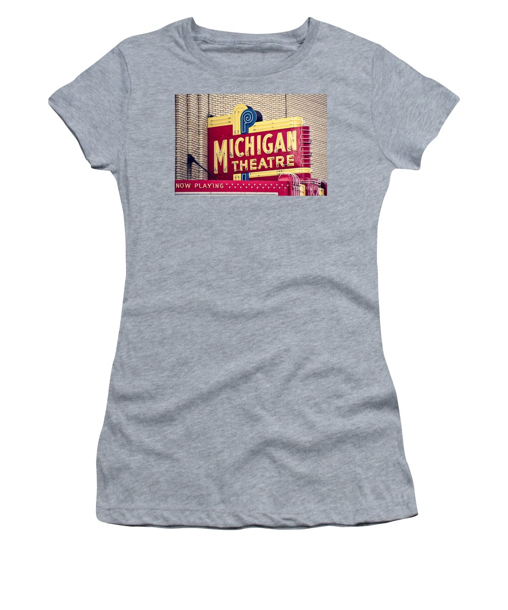 Michigan Women's T-Shirt featuring the photograph Michigan Theatre 2 by Emily Kay
