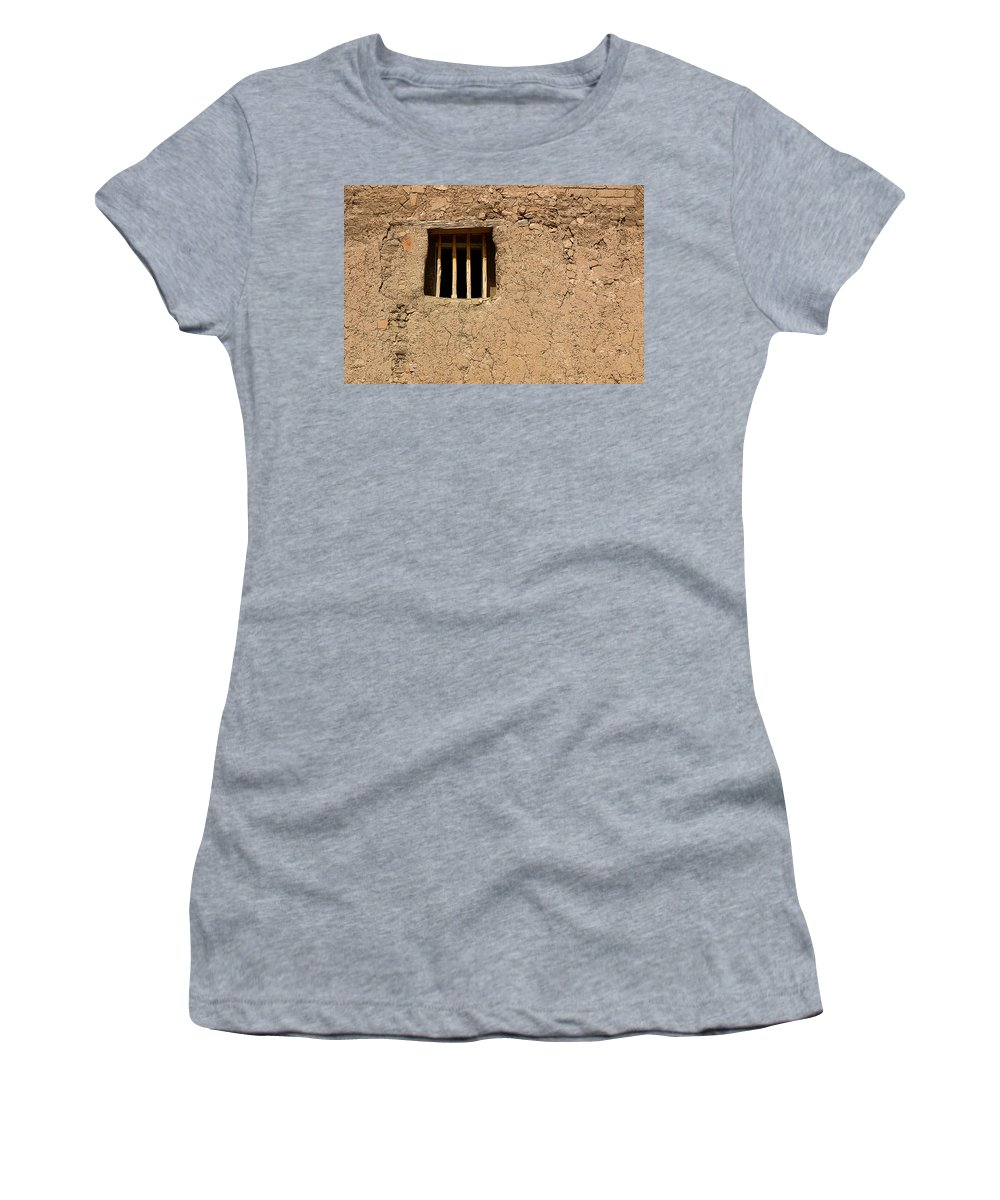 Adobe Women's T-Shirt (Athletic Fit) featuring the photograph Mission Church Window by Joe Kozlowski