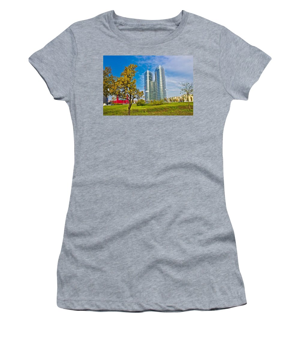 Architecture Women's T-Shirt featuring the photograph Modern Twin Tower In City Of Zagreb by Brch Photography