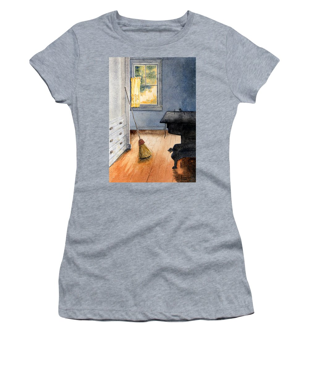 Stove Women's T-Shirt featuring the painting Monhegan Kitchen by Roger Rockefeller
