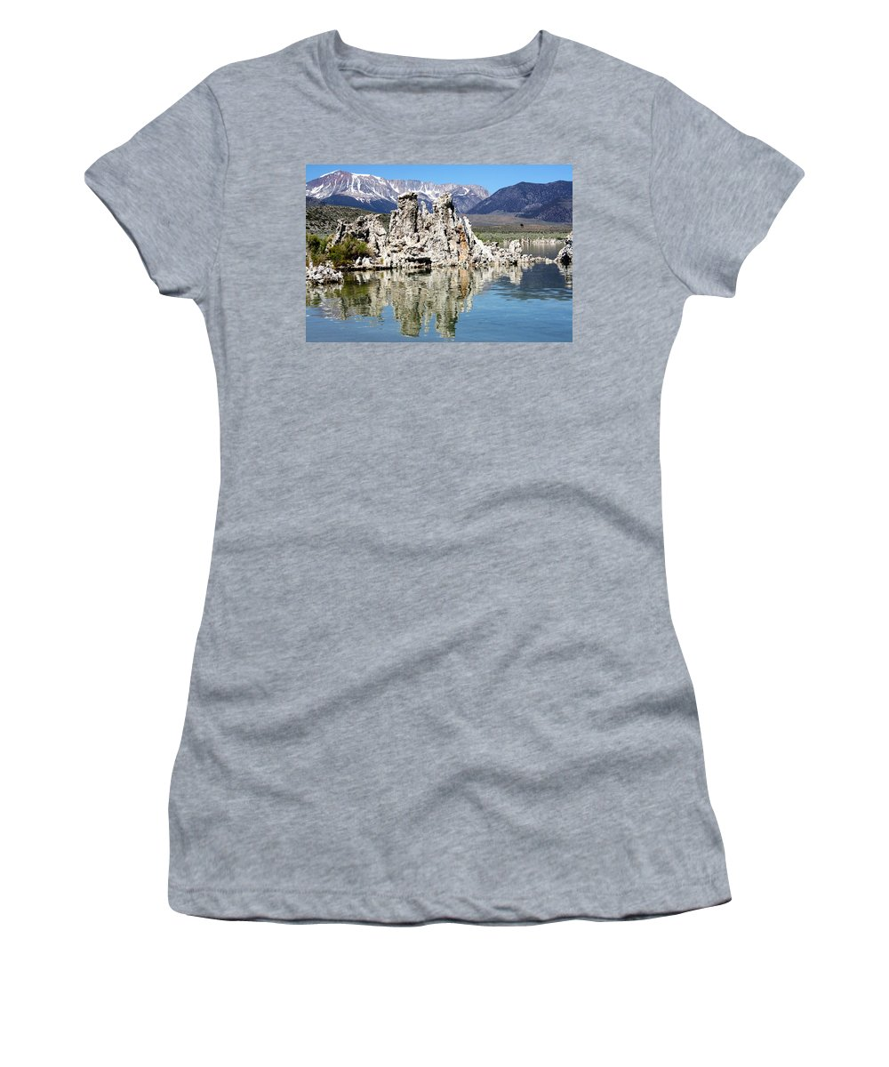 Mammoth Mountains Women's T-Shirt featuring the photograph Mono Lake And Sierra Mtns by Linda Dunn