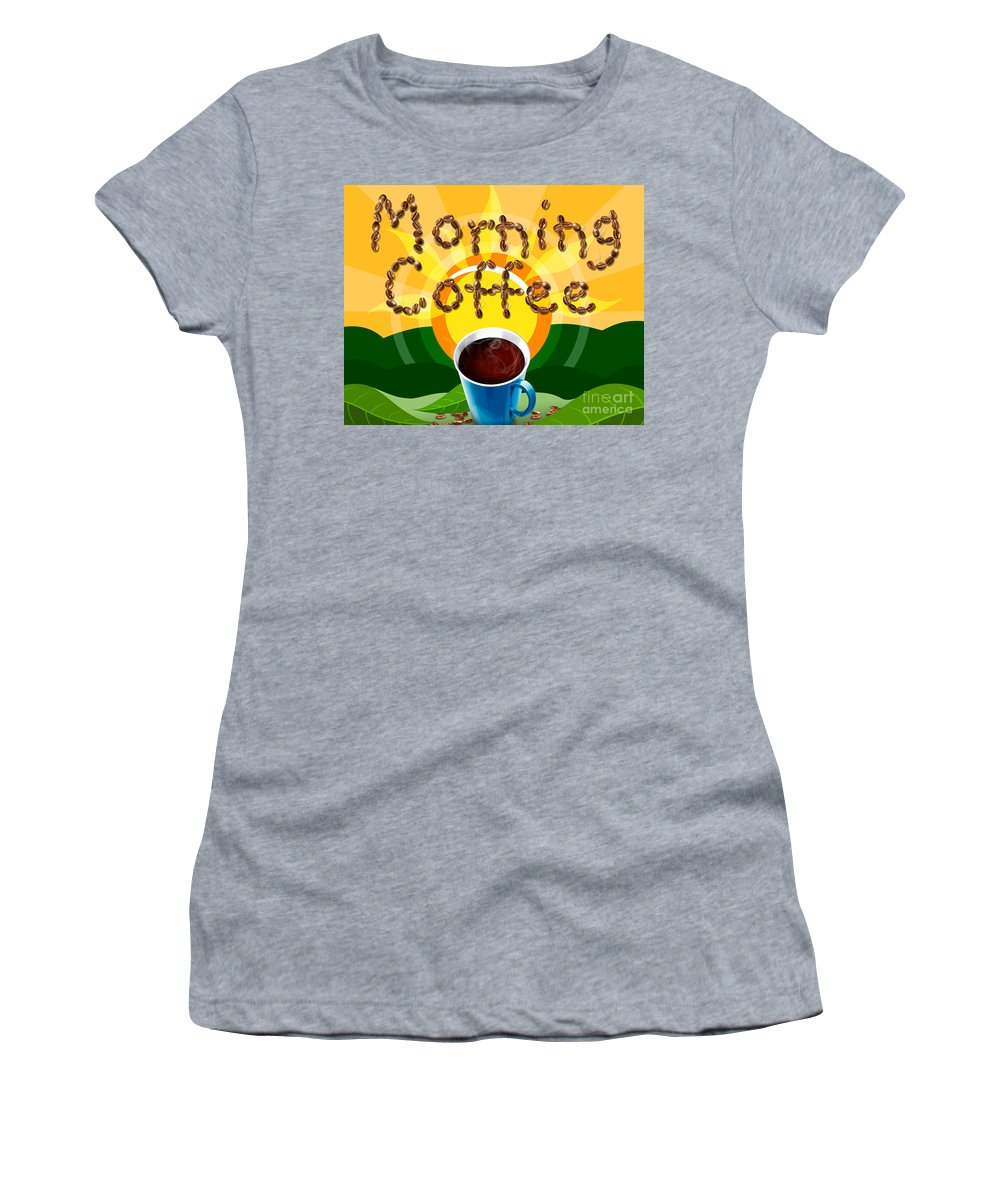 Natural Women's T-Shirt featuring the digital art Morning Coffee by Peter Awax
