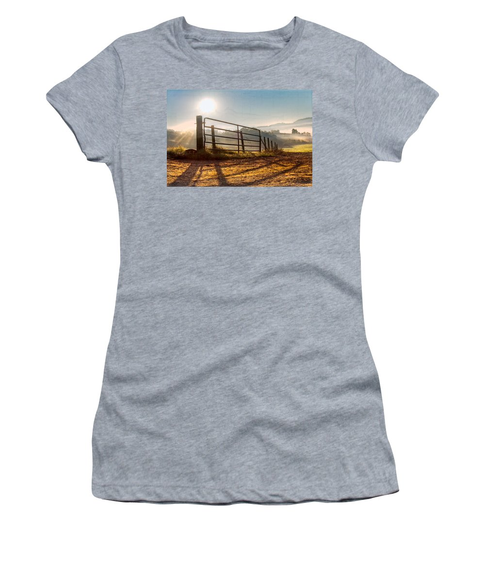 Appalachia Women's T-Shirt featuring the photograph Morning Shadows by Debra and Dave Vanderlaan