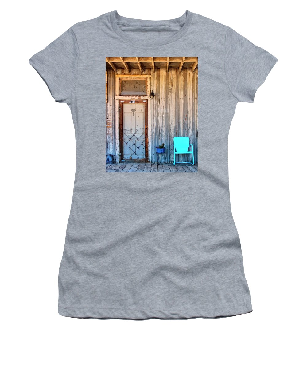 Pioneertown Women's T-Shirt (Athletic Fit) featuring the photograph Morning Sun Pioneer Town by William Dey