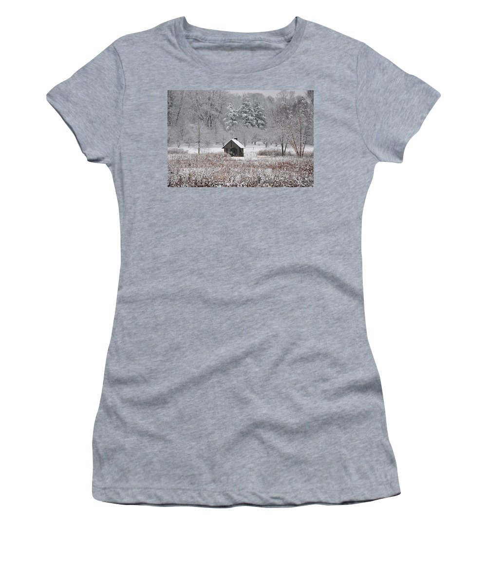 Morris Arboretum Mill In Winter Women's T-Shirt featuring the photograph Morris Arboretum Mill In Winter by Bill Cannon