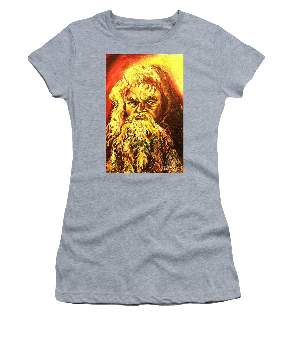 Moses Women's T-Shirt (Athletic Fit) featuring the painting Moses At The Burning Bush by Carole Spandau