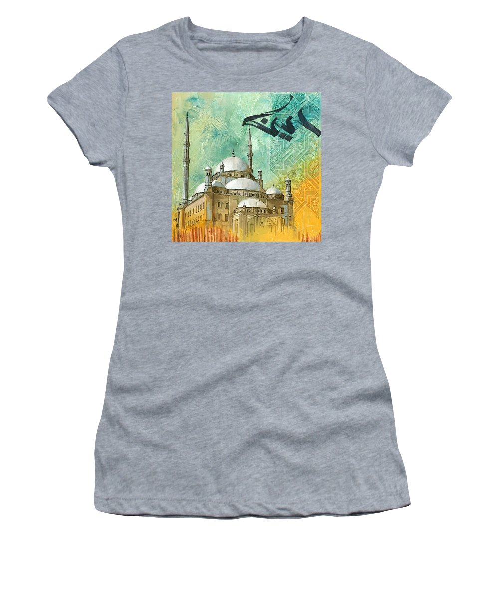 Alabaster Mosque Women's T-Shirt (Athletic Fit) featuring the painting Mosque Of Muhammad Ali by Corporate Art Task Force