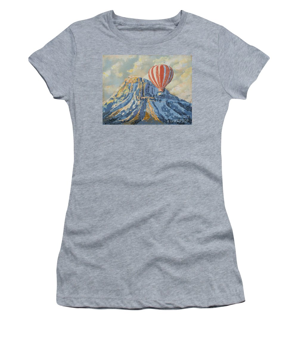 Mount Women's T-Shirt (Athletic Fit) featuring the painting Mount Garfield by Jerry McElroy