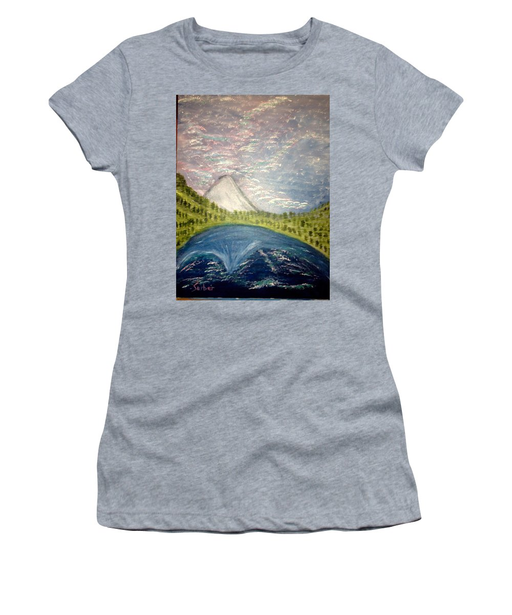 Mt. Hood Women's T-Shirt featuring the painting Mount Hood Night Sky by Suzanne Surber