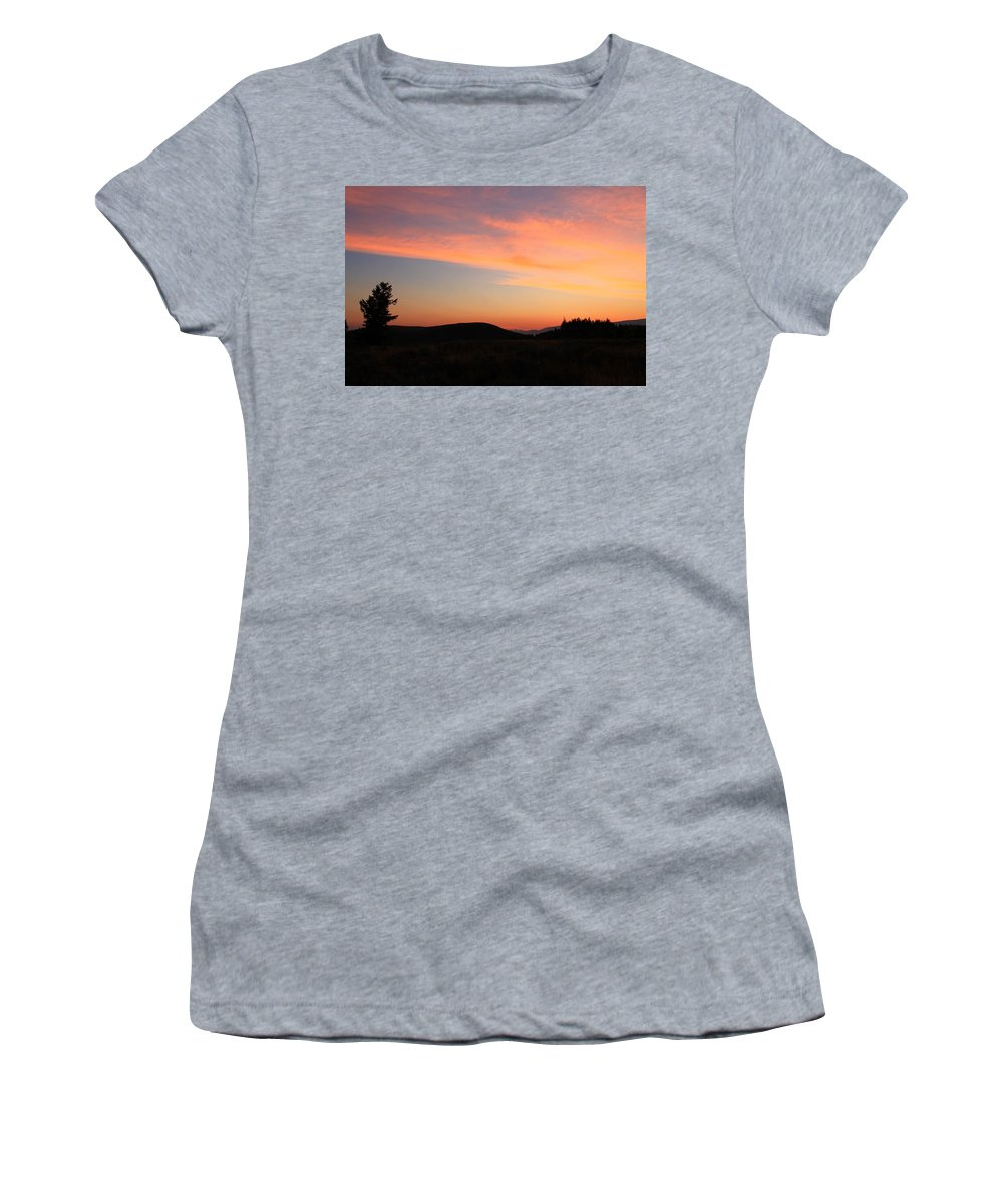 Jackson Hole Women's T-Shirt featuring the photograph Mountain Mornings by Catie Canetti