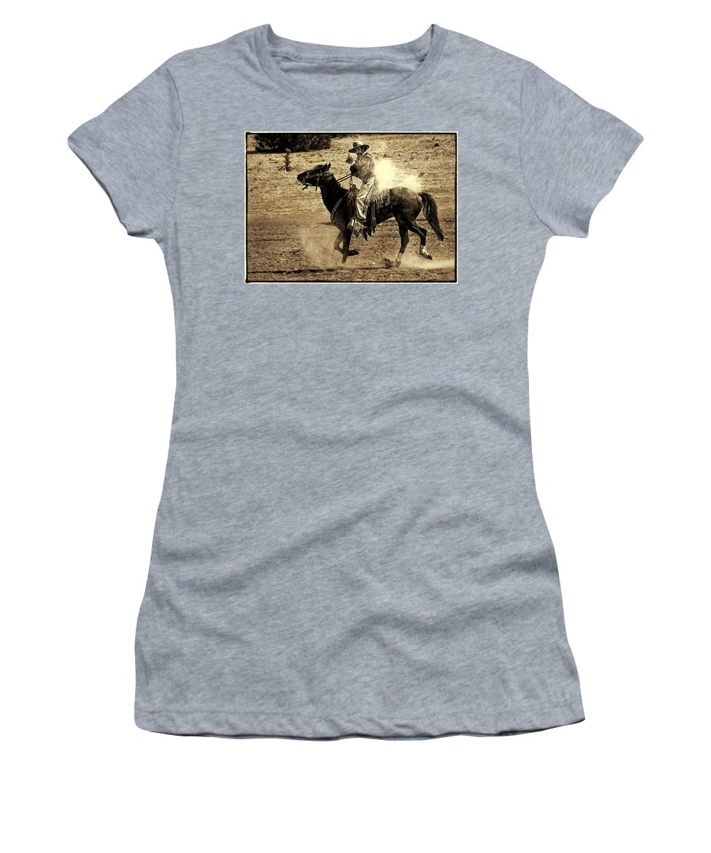 New Mexico Mounted Shooting Championship Match Women's T-Shirt featuring the photograph Mounted Shooting by Priscilla Burgers