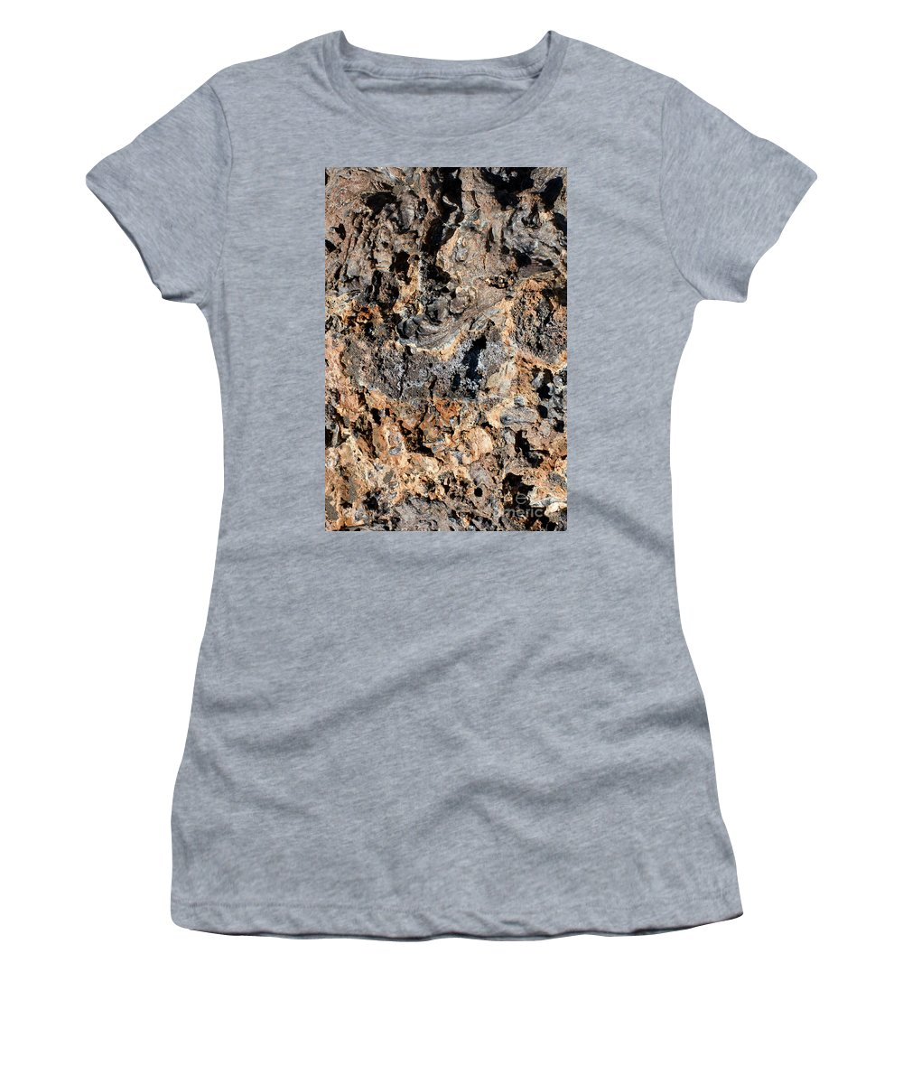 Bartolome Island Galapagos Islands Ecuador Lava Rock Rocks Abstract Odds And Ends Color Colors Texture Textures Women's T-Shirt featuring the photograph Multi-colored Lava by Bob Phillips
