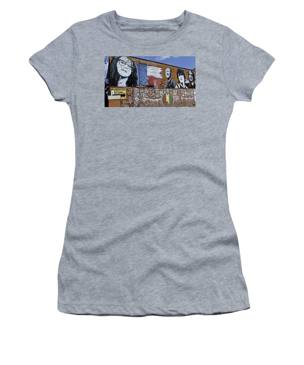 Street Scene Women's T-Shirt featuring the photograph Mural And Graffiti by Allen Sheffield