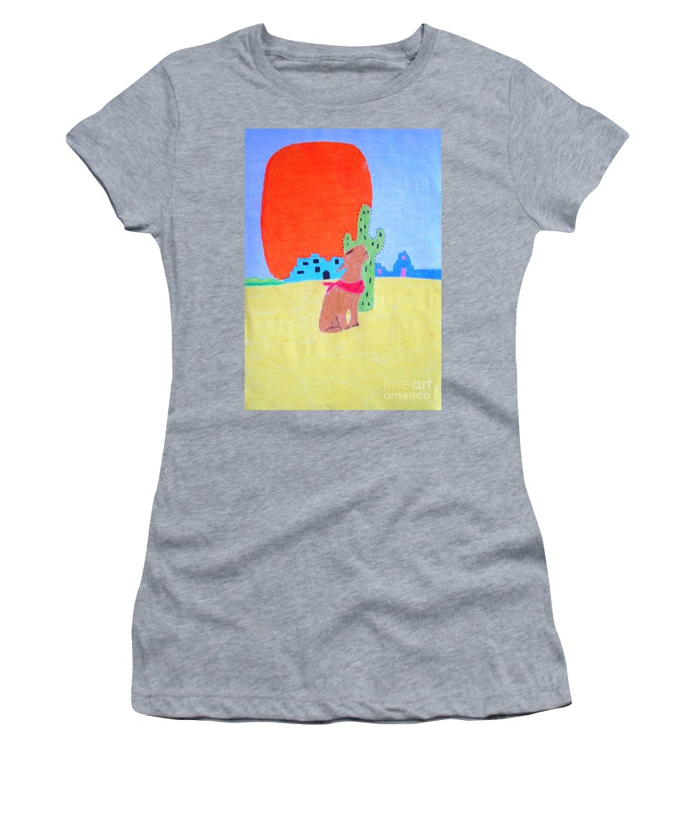 Oil Women's T-Shirt featuring the pastel My Cactus Friend And I by Lisa Byrne
