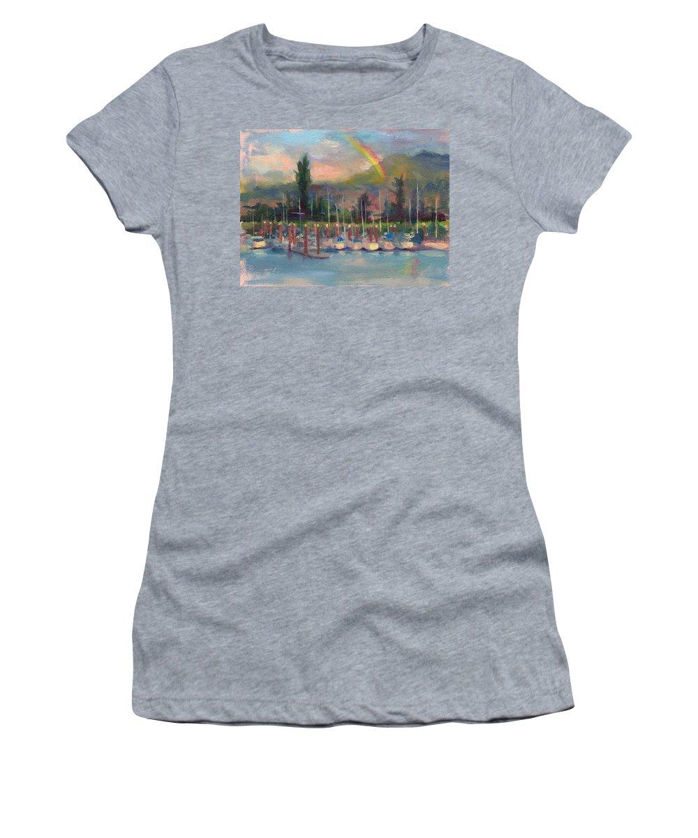 Rainbow Women's T-Shirt featuring the painting New Covenant - Rainbow Over Marina by Talya Johnson