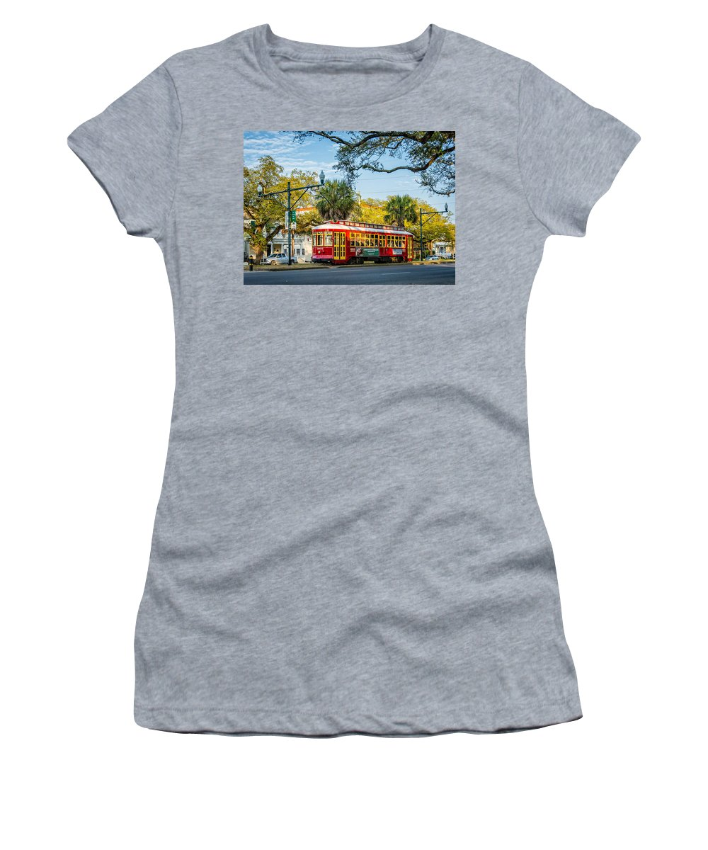 Canal Street Women's T-Shirt featuring the photograph New Orleans - Canal St Streetcar 2 by Steve Harrington