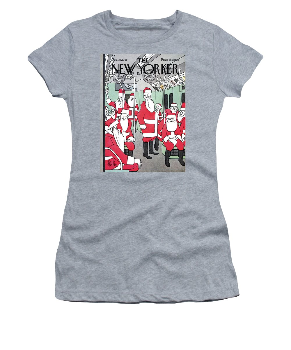 George Price Women's T-Shirt featuring the painting New Yorker December 25th, 1965 by George Price