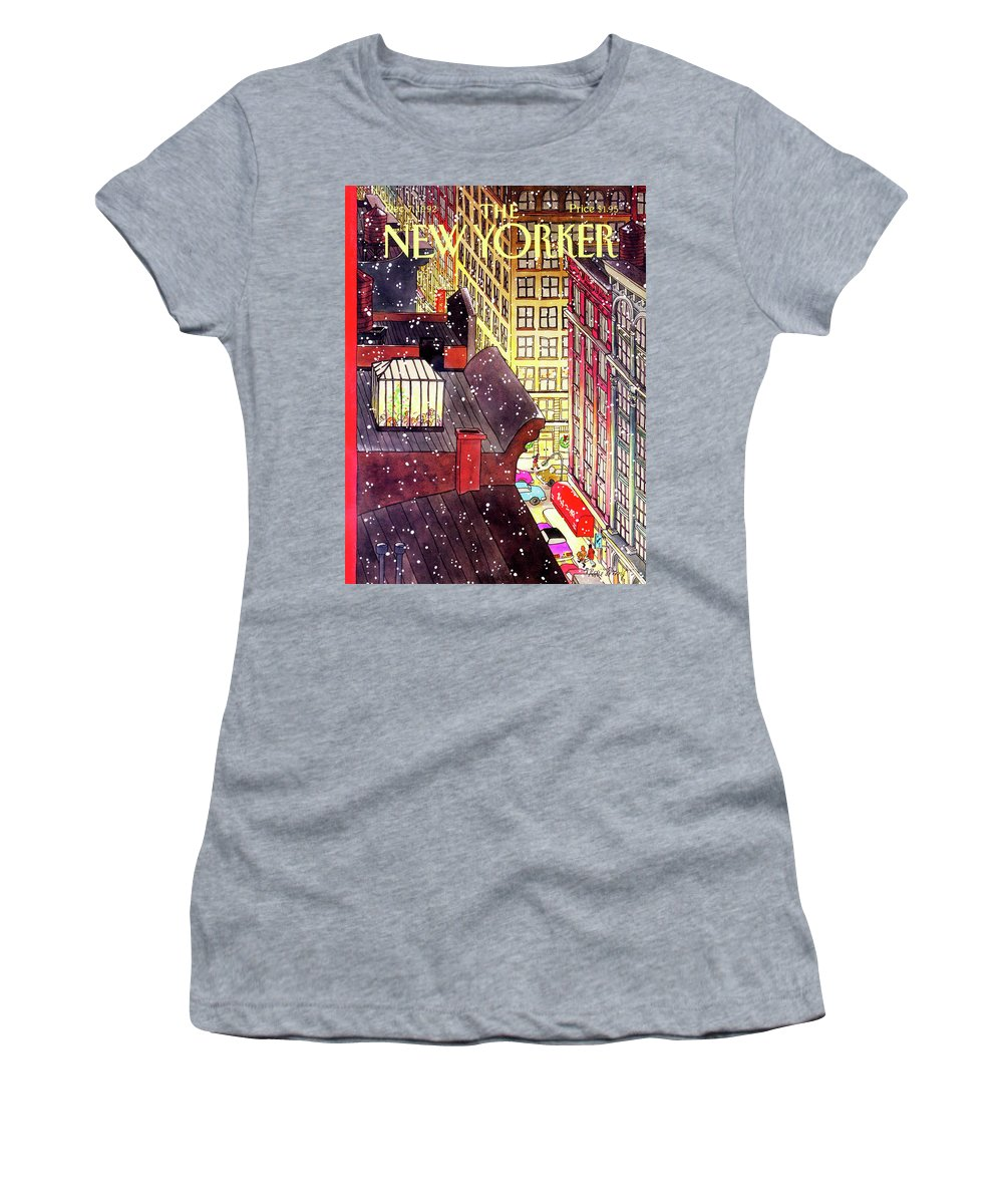 Dining Women's T-Shirt featuring the painting New Yorker December 7th, 1992 by Roxie Munro