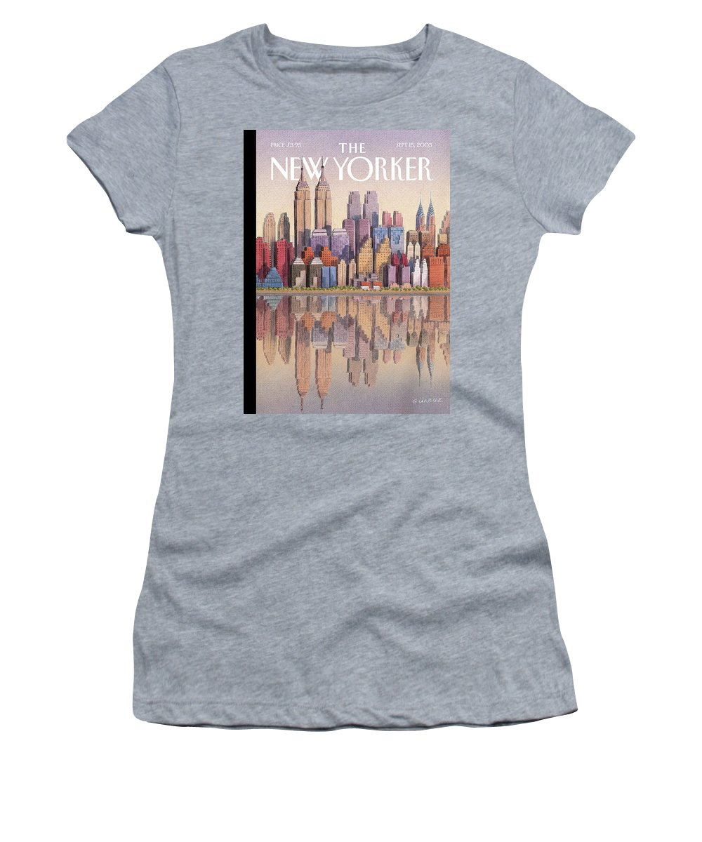 Twin Towers New York City Regional Empire State Building World Trade Center Twintowers Wtc Gek Gurbuz Dogan Eksioglu   Women's T-Shirt featuring the painting New Yorker September 15th, 2003 by Gurbuz Dogan Eksioglu