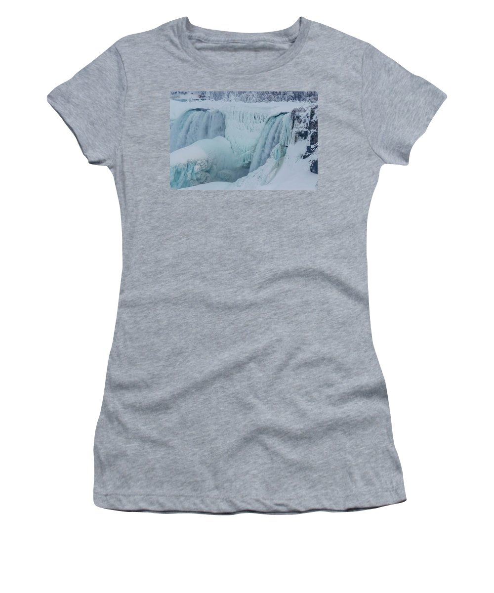 Usa Women's T-Shirt featuring the photograph Niagara Falls Usa In Winter by Ray Sheley