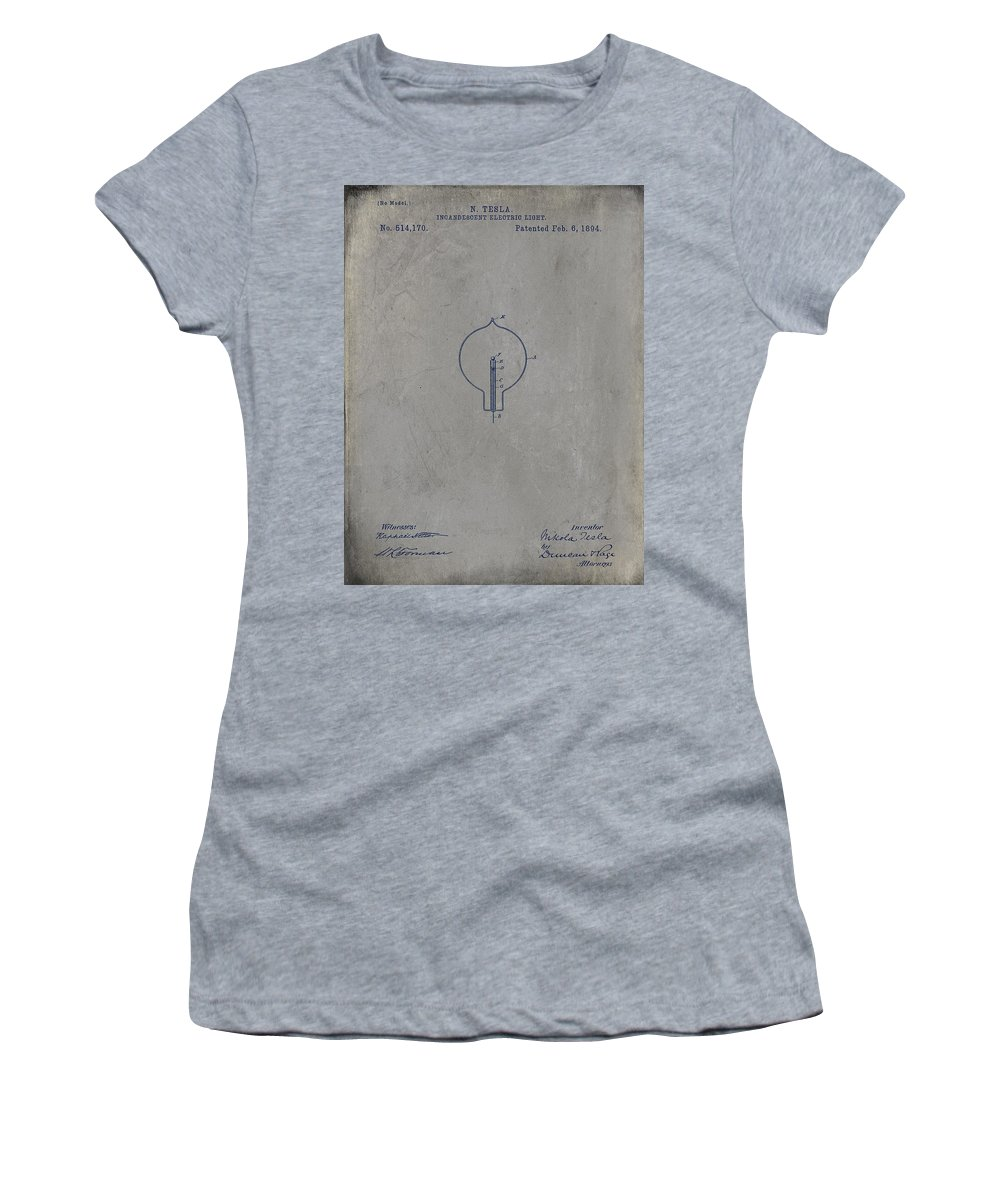 Wright Women's T-Shirt featuring the drawing Nikola Tesla's Incandescent Electric Light Patent 1894 - Grunge by Paulette B Wright